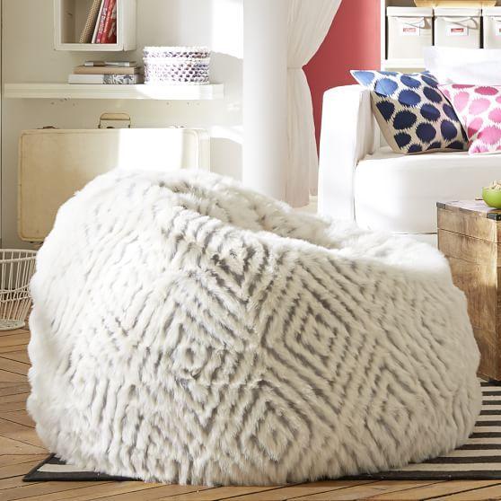 Light Grey/Ivoy Kilim Kite Faux Fur Beanbag, Large, Slipcover Only - Light Grey/Ivoy Kilim Kite Faux Fur Beanbag, Large, Slipcover Only