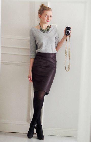 Jc College Shirt, H&M Leather Skirt, Clou Ankle Boots, Cubus ...