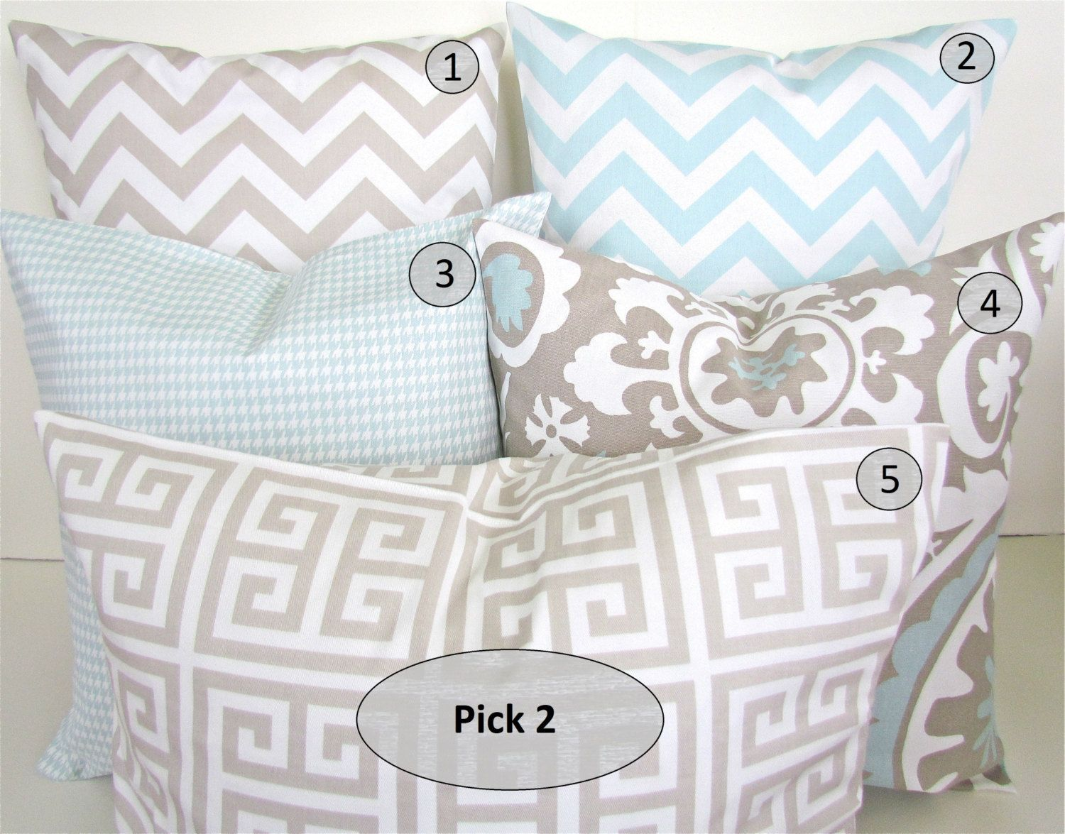DECORATIVE PILLOWS Set Pick 2 TAN 16x20 or 12x20 Lumbar Blue