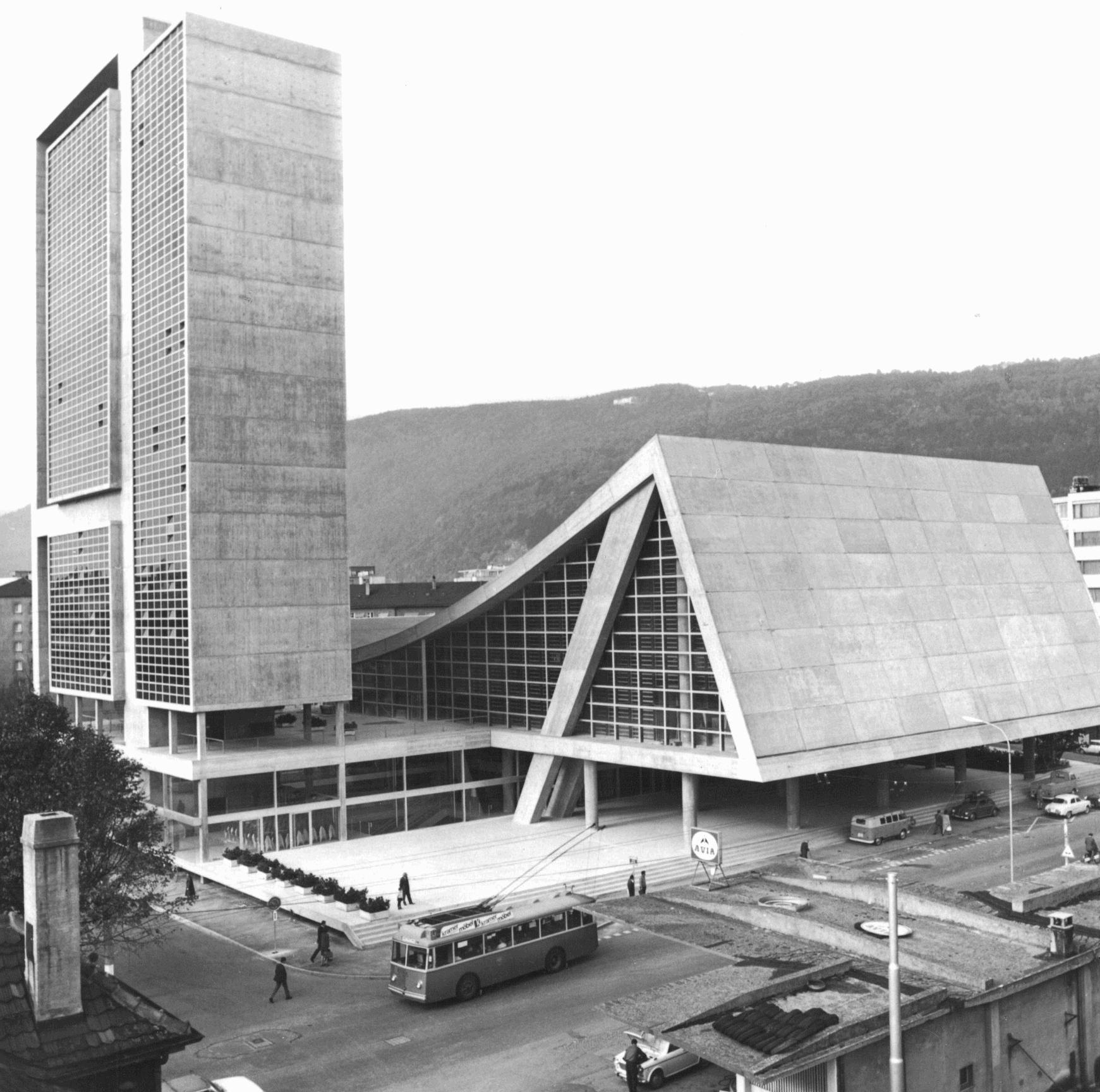 kongresshaus und hallenbadkomplex biel 1961 1966 max. Black Bedroom Furniture Sets. Home Design Ideas