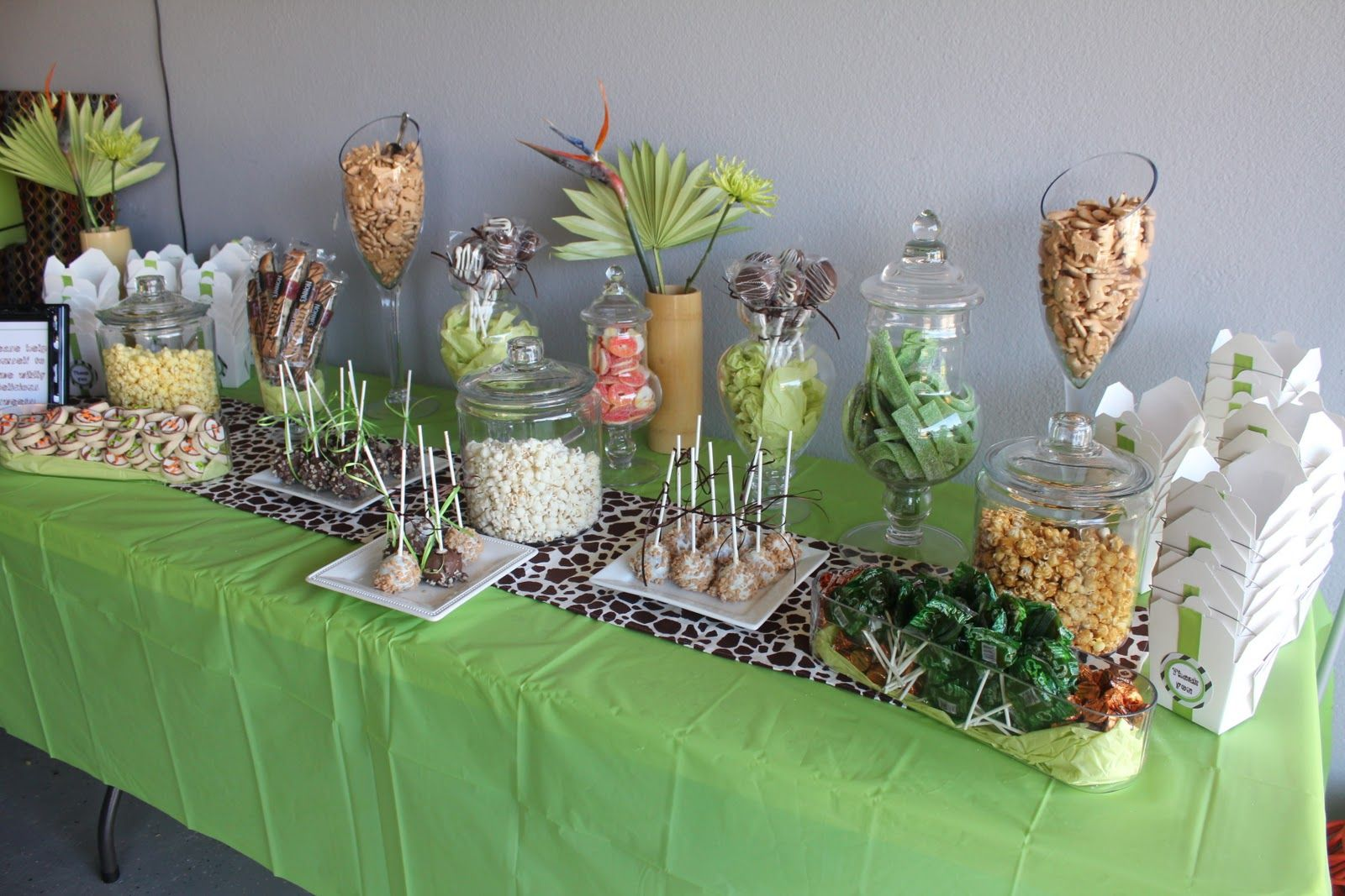 Whimsy wise events modern safari shower baby shower ideas in 2019 baby shower candy table - Deco table jungle ...