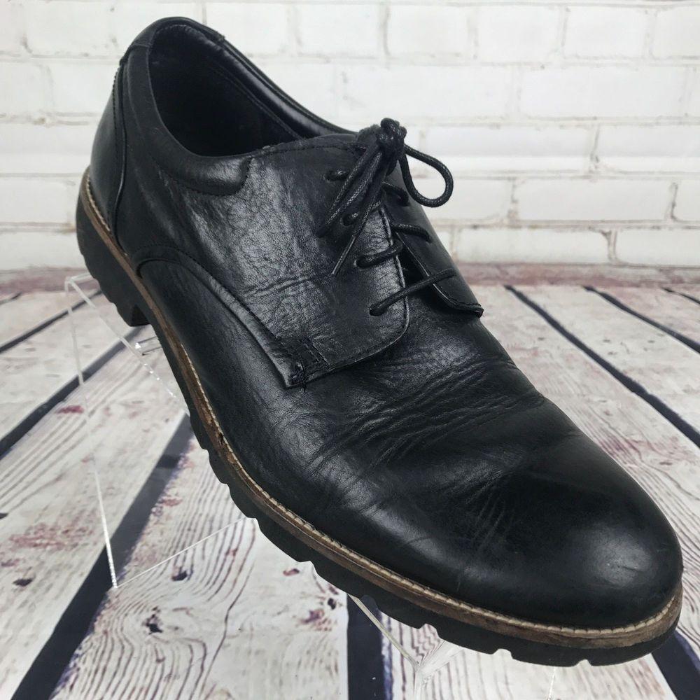 Men's Rockport black leather Oxford shoes Sz 12 AdiPRENE by
