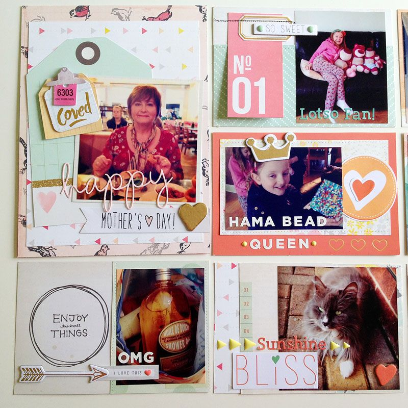 Summer into Autumn trends for 2014 - pocket pages combining lots of elements from recent Teresa Collins Nine & Co., Crate Paper Styleboard and Note's & Things releases plus alpha stickers from Basic Grey.