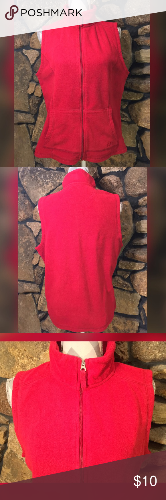 """GAP FLEECE VEST Gap Zip Fleece Vest Excellent Used Condition Red color 100% Polyester Total Length: 25"""" (see measurement guide) Sleeve Length: 0"""" (see measurement guide) Women's Size: Large Full Zip, Semi-Fitted/Relaxed Fit #10007 GAP Jackets & Coats Vests"""