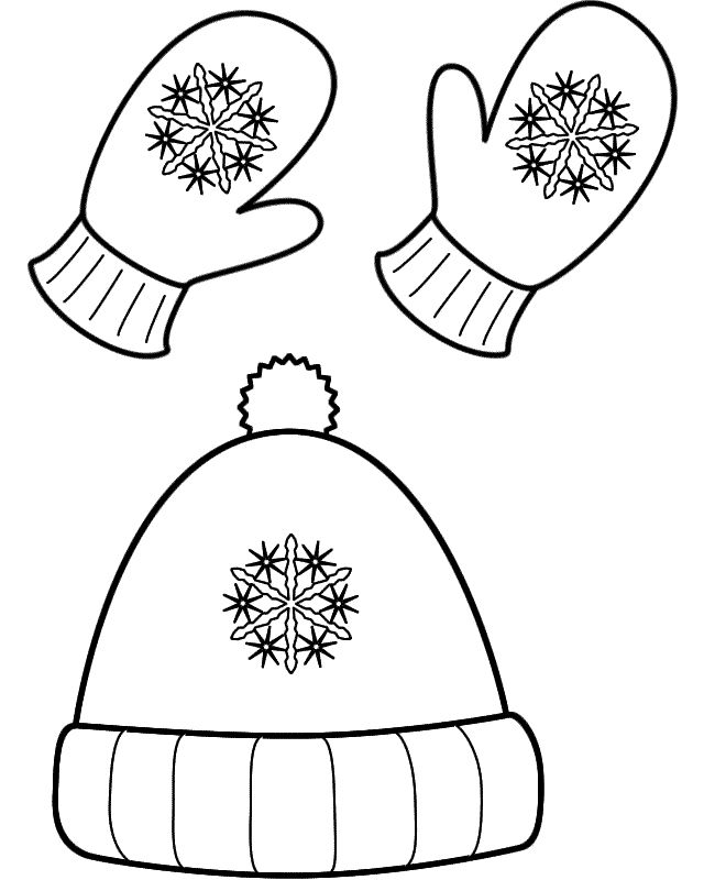 Free Winter Hat And Mittens Coloring Page Clothing Training Pages