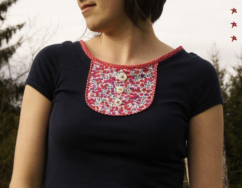 Bekannt Tshirt customisé avec plastron, passepoil, biais | customisation  GE76