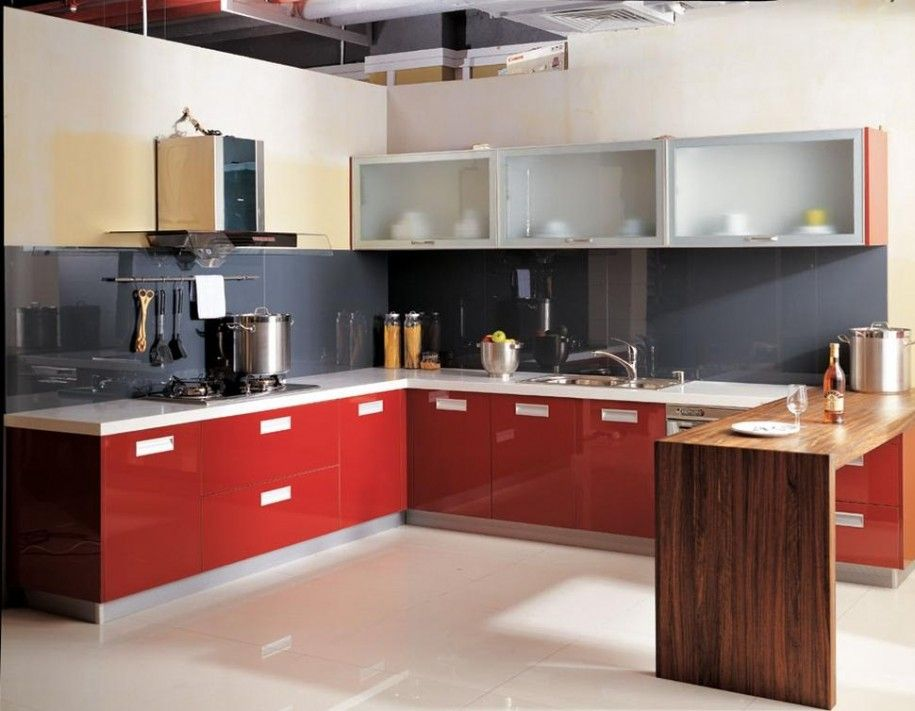 red kitchen cupboard doors - Contemporary Kitchen Cabinet Doors