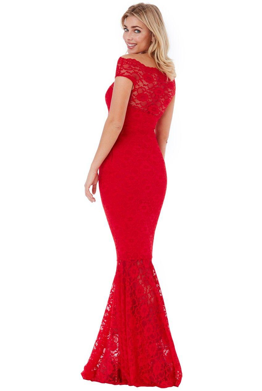 301e7c8f1b5dbe Bardot Lace Maxi Dress - Red - Front - DR809   PAMELA   Dresses ...