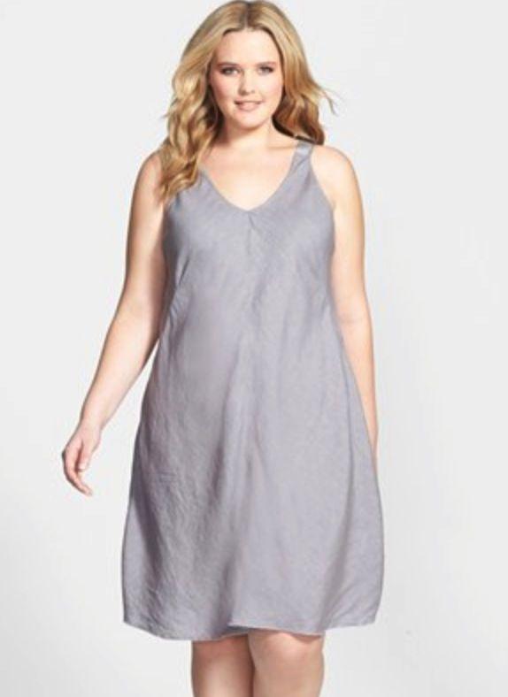 Eileen Fisher Plus Size Bias Cut Linen Dress | Fine Looks & Size + ...