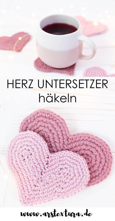 Photo of Häkelherz Untersetzer | DIY Geschenk für Valentinstag ars textura – DIY Blog