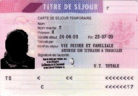 carte de séjour temporaire vie privée et familiale Carte de Séjour Temporaire. (465×326) (avec images) | Carte de