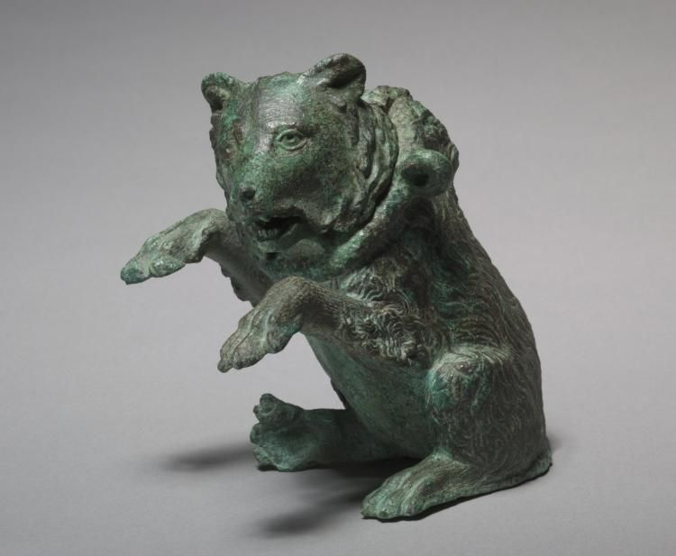 """""""Oil Ampula in the Form of a Dancing Bear"""" (ca. 3rd century). Roman, Italy. Posted on clevelandart.org."""