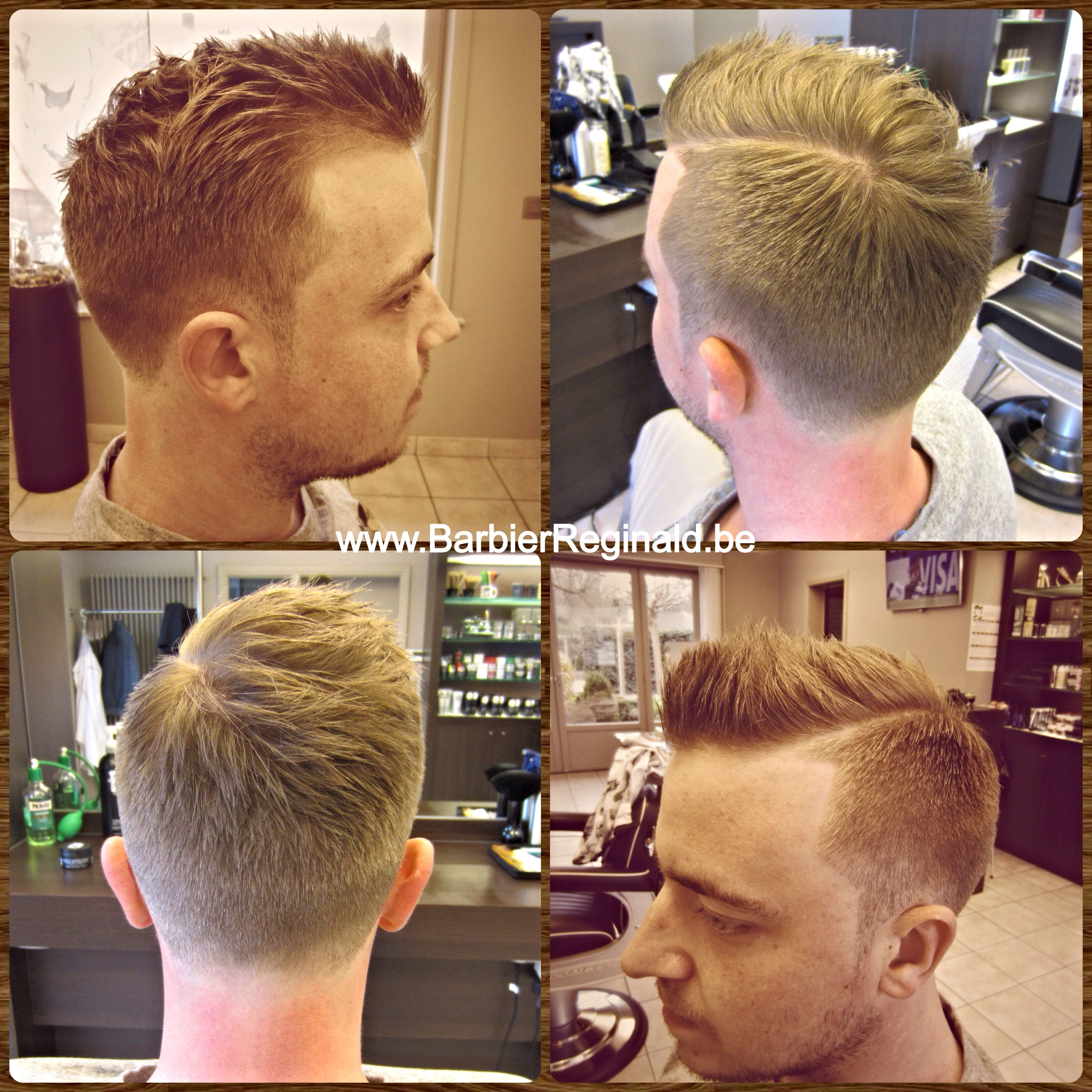 short faded sides with sharp lines & a razor part finished