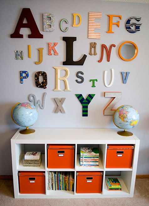 These Wooden Letters Make A Fun Way To Display The Alphabet In A Nursery.  The Expedit Bookcase On Itu0027s Side Makes A Great Kids Book/storage Shelf.