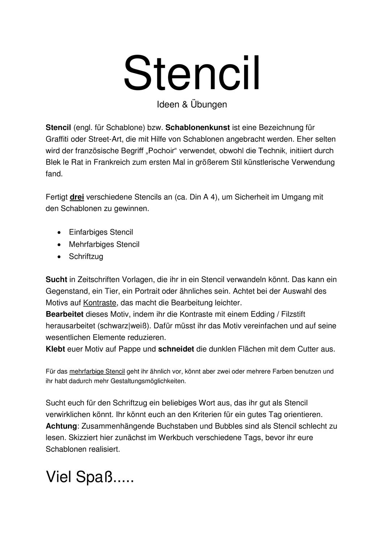 Arbeitsblatt Stencil Schablonenkunst Unterrichtsmaterial Im Fach Kunst Schablonen Schablonenkunst Kunst