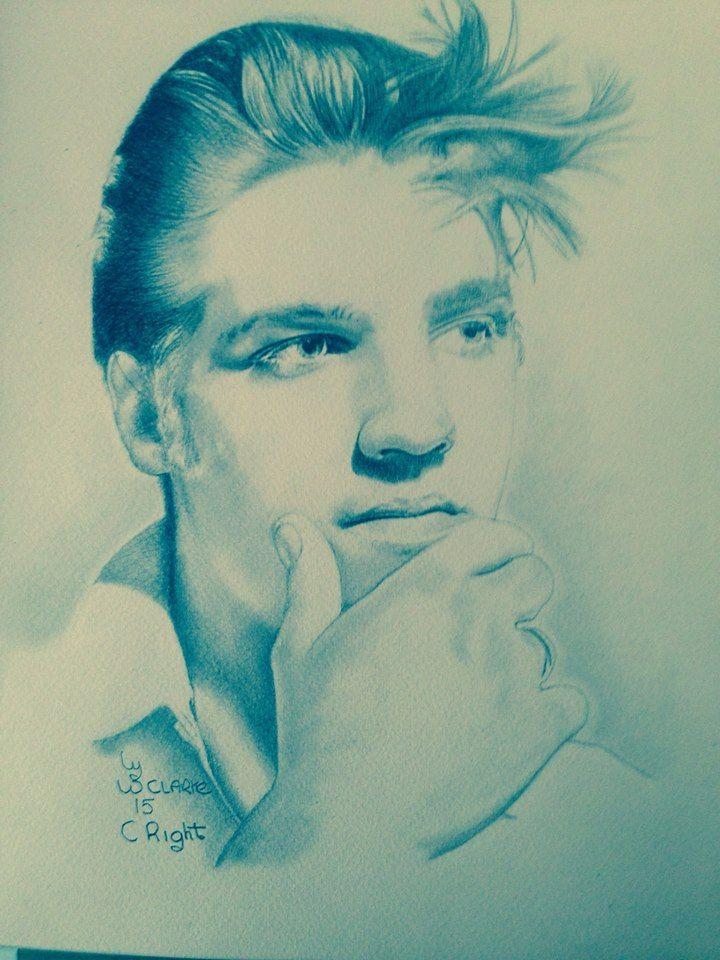Beautiful drawing of 1956 ELVIS PRESLEY by Warren Clarke ©   See more of his beautiful Elvis drawings on https://www.facebook.com/warren.clarke.9066/media_set?set=a.268704319982827.1073741827.100005297838042&type=3