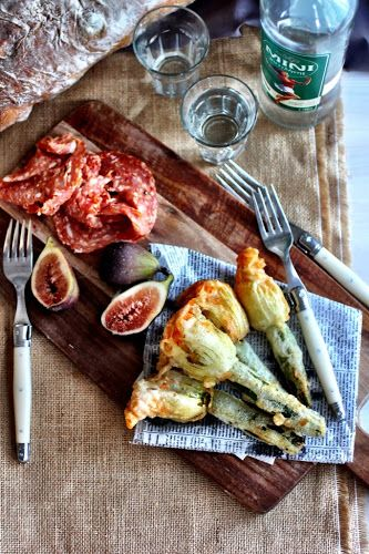 Zucchini Blossoms stuffed with Kefalograviera Cheese and Anchovies