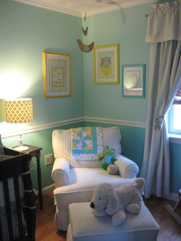 love the cozy little corner in the nursery