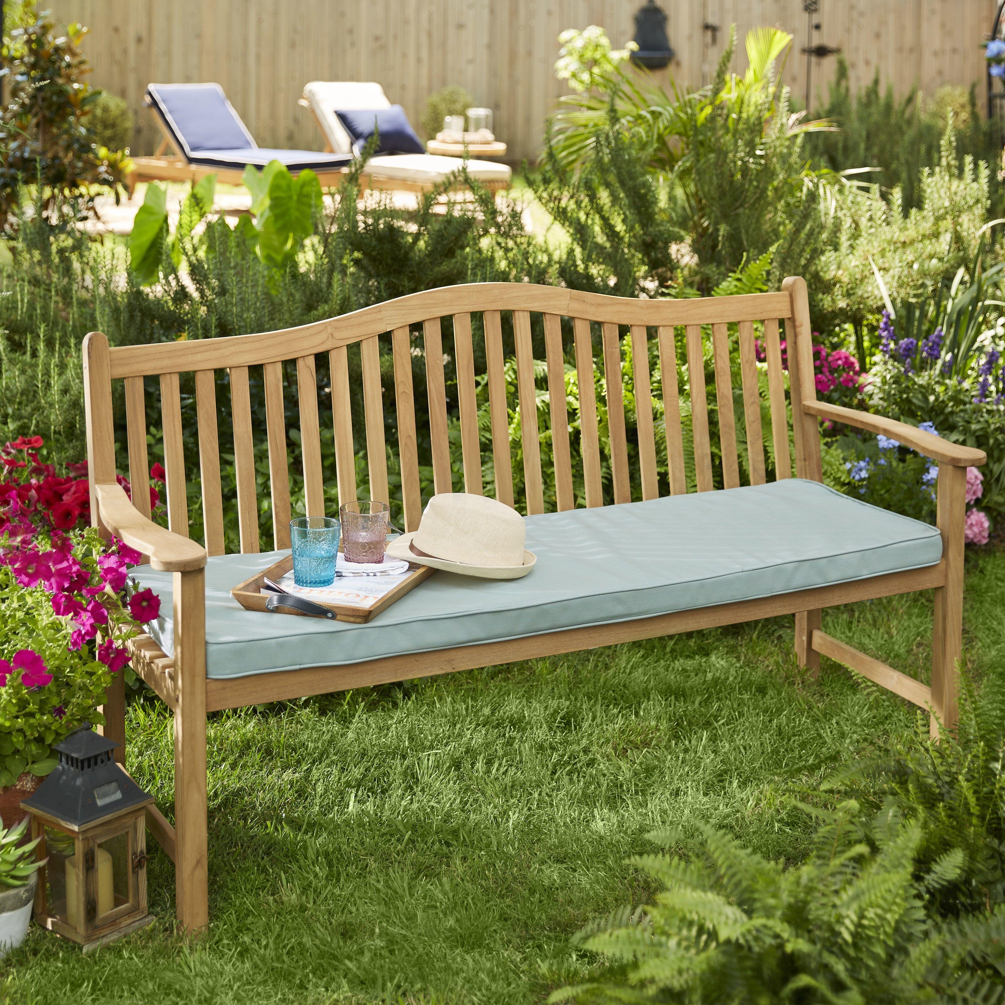Cottage Teak Bench Cushion With Sunbrella Fabric Navy Modern
