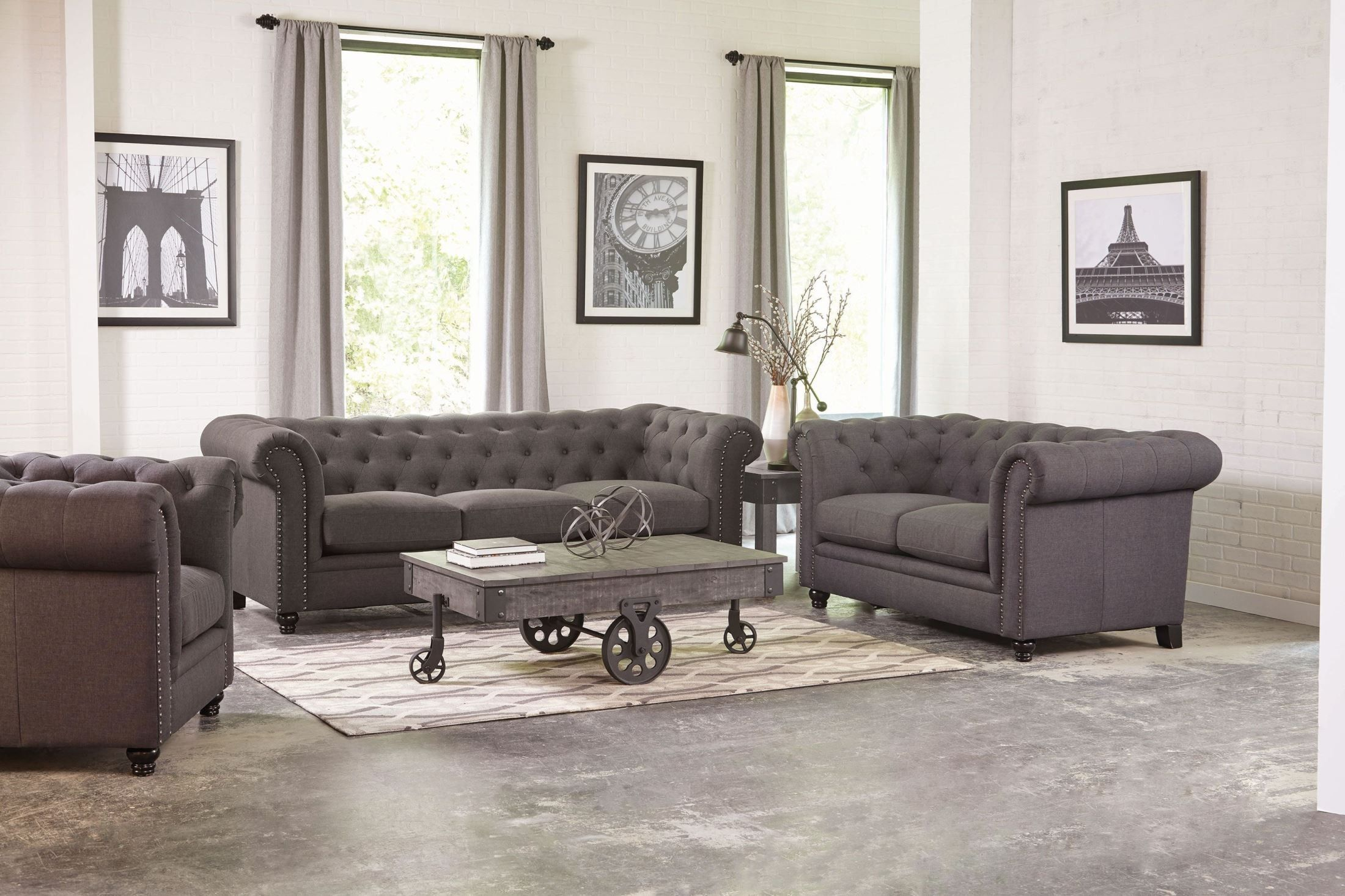 Roy Grey Sofa 3 Piece Living Room Set Living Room Sets Couches