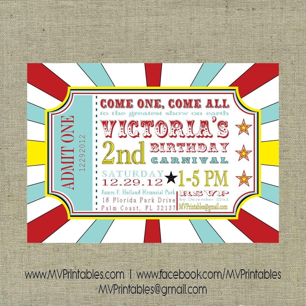 Carnival Themed Custom Digital Printable Invitation Bat Mitzvah