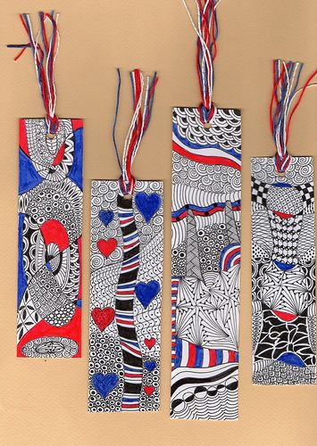 tomorrow willbe the 14 juillet , our national day . so , we are going to see the firework with some friends and I have made these bookmarks for the fun !!