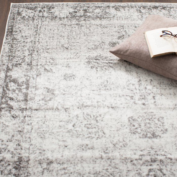 Brandt Gray Area Rug #graybedroomwithpopofcolor