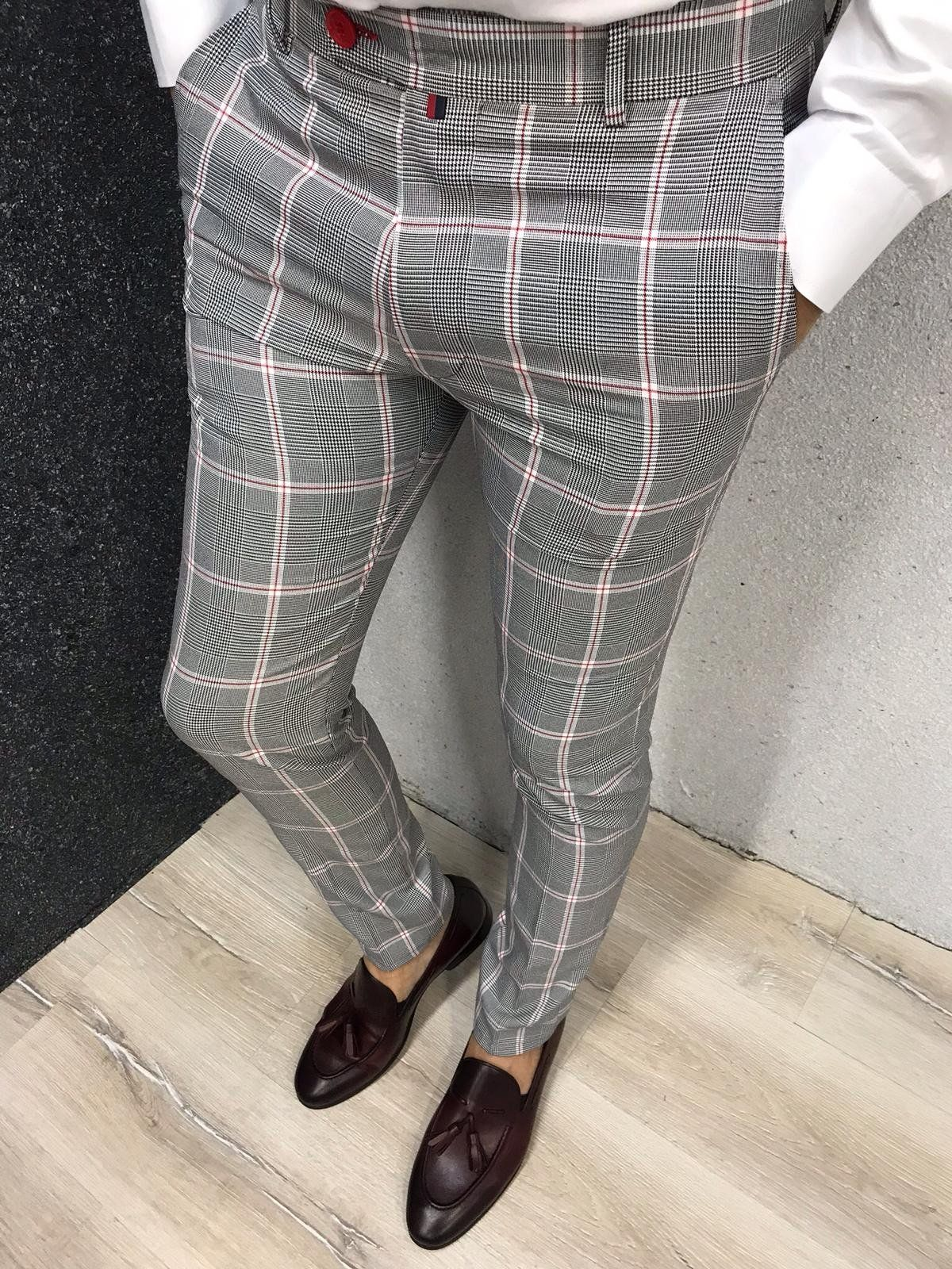 Kingston Gray Plaid Slim Pants Pants Outfit Men Mens Plaid Pants Mens Dress Pants [ 1600 x 1200 Pixel ]