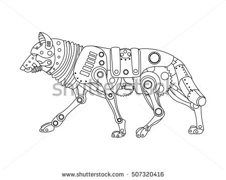 Steampunk style wolf. Mechanical animal. Coloring book for