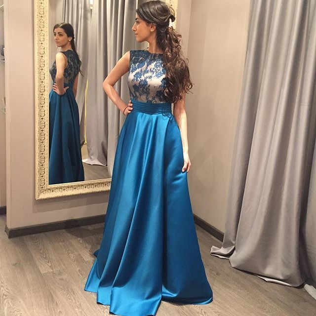 Click to Buy << Alice Blue Appliques Long Prom Dresses 2017 African ...