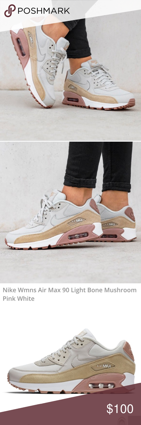 d6ef154b57254 NWOB NIKE WMNS AIR MAX 90 Size 5/5.5 material: leather/synthetic/textil  Color: LIGHT BONE/MUSHROOM-PARTICLE PINK-WHITE Nike Shoes Sneakers