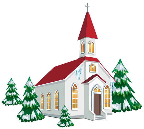 Painting Church In Snow Religious Christmas Ceramic: Winter Church With Snow Trees PNG Clipart Image