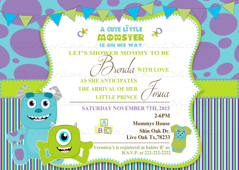 Monster inc Baby shower invitation | Baby shower ideas | Pinterest ...