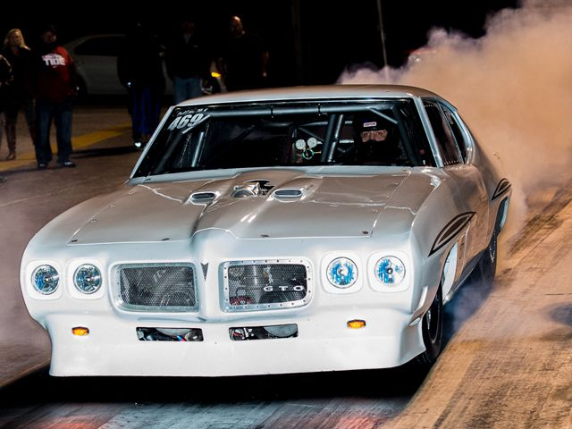 """Street Outlaws' current Number One man Justin """"Big Chief"""" Shearer rolls out of a smoky burnout at Huntsville Dragway."""