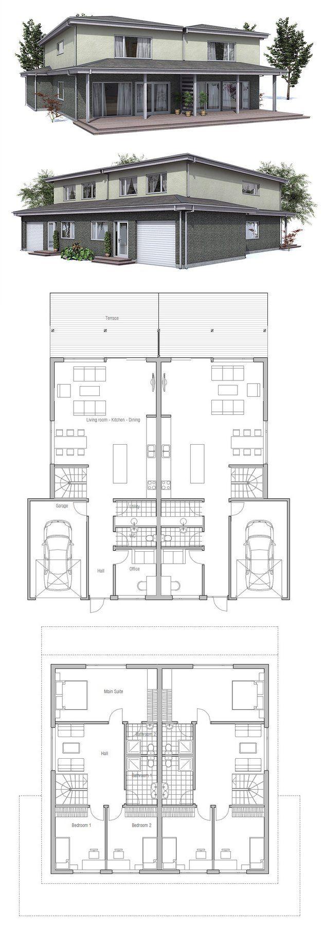 Treppe mit Küche tauschen, damit Herd nah am Fenster; office+Gast WC ...
