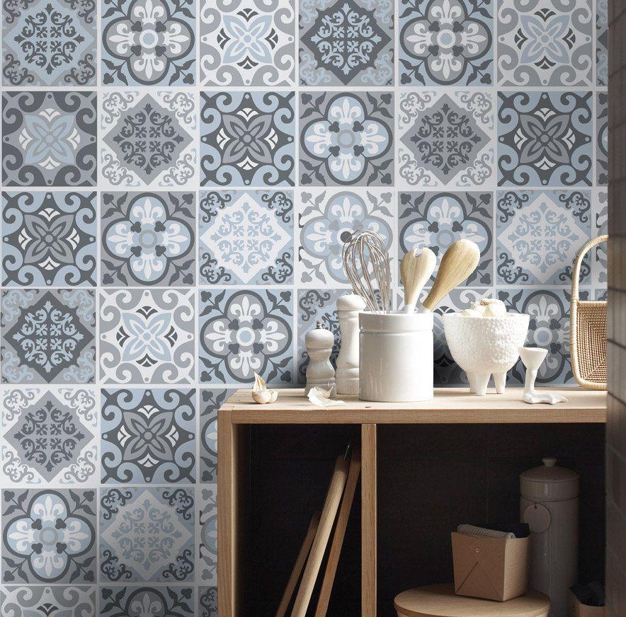Tile Stickers   Tile Decals   Backsplash Tile   Vintage Blue Gray   Tiles  For Kitchen   Tiles For Bathroom   PACK OF 32   SKU:VintBGTiles