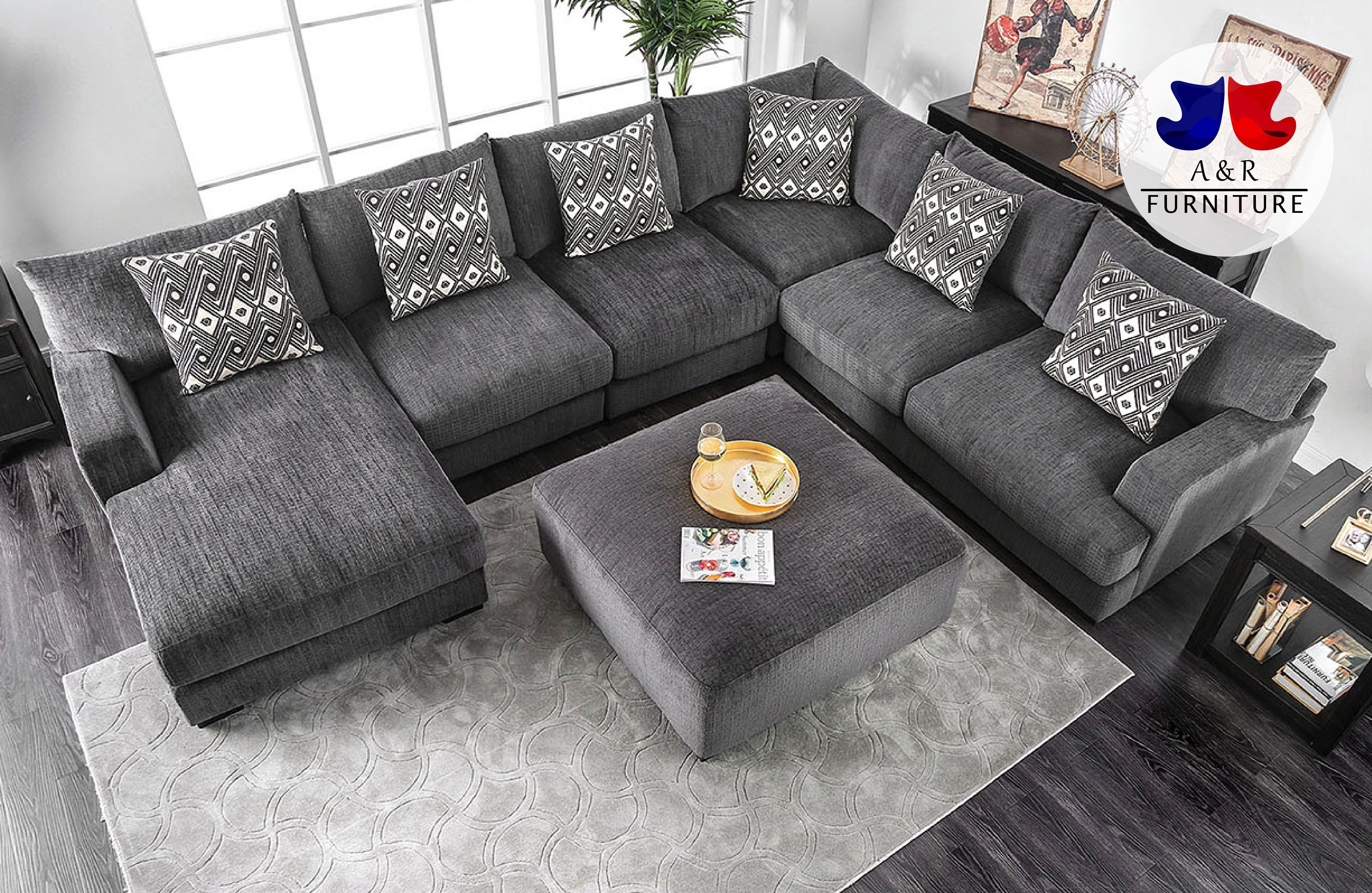 5 Pc Kaylee Gray Chenille Fabric Sectional Sofa Set With Chaise And Ottoman Fa Fabric Sectional Sofas Black Sectional Living Room Sectional Sofa