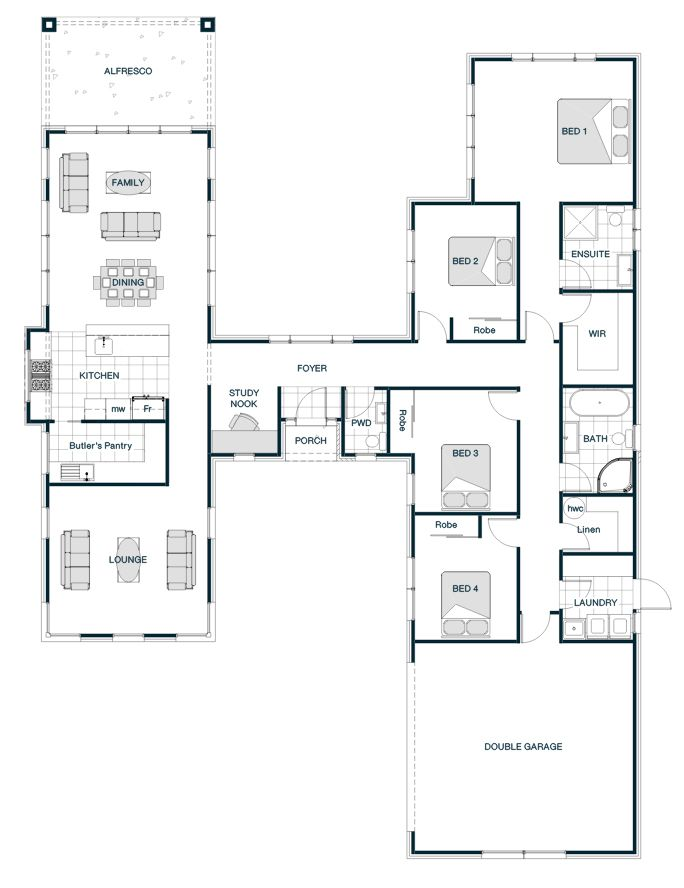 Floor Plan Friday: H-shaped smart home with two separate ...