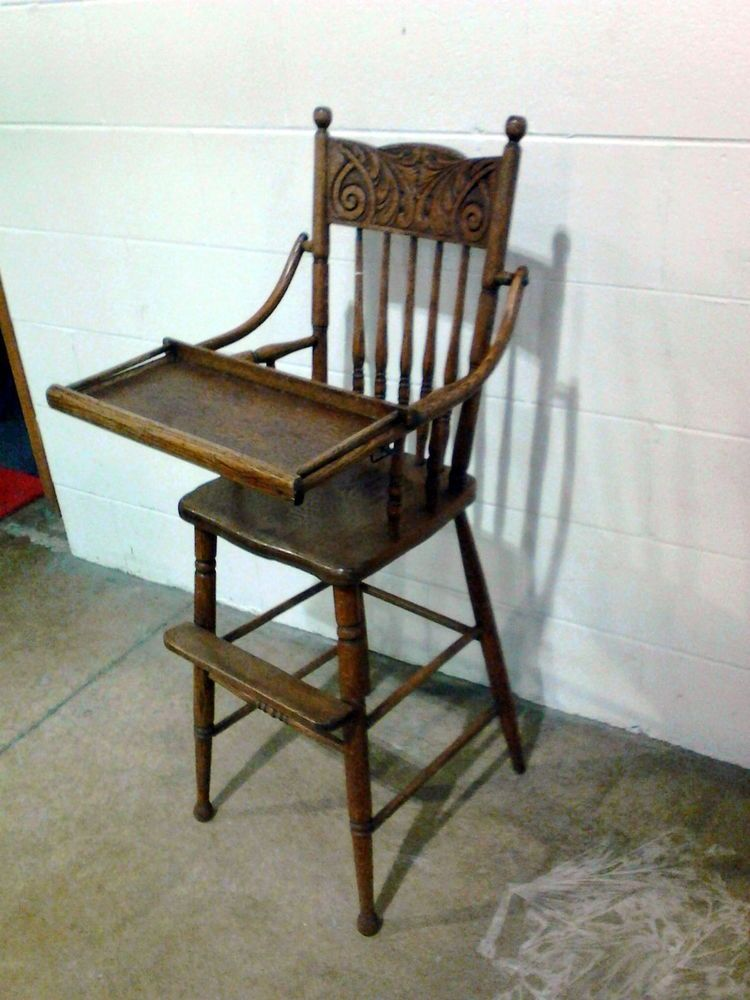 Antique Victorian Wooden High Chair with Tray Circa 1900 OAK #Victorian  #Unknown - Antique Victorian Wooden High Chair With Tray Circa 1900 OAK SOLD