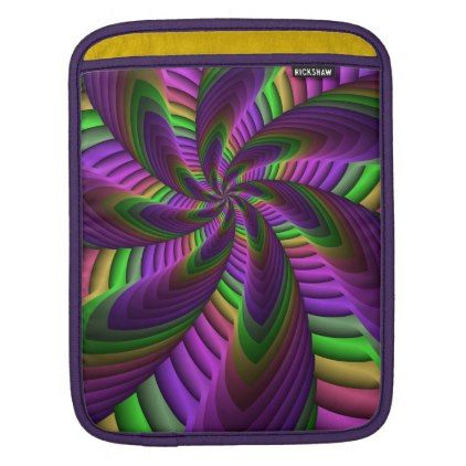 #modern - #Neon Colors Flash Crazy Colorful Fractal Pattern Sleeve For iPads