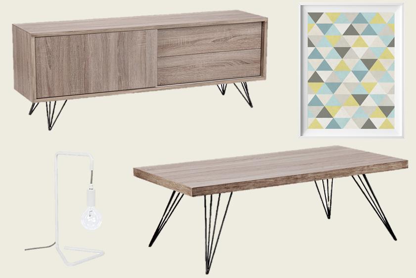 meuble tl table basse en bois style scandinave nordique affiche triangle bleu jaune gris lampe design - Meuble Nordique