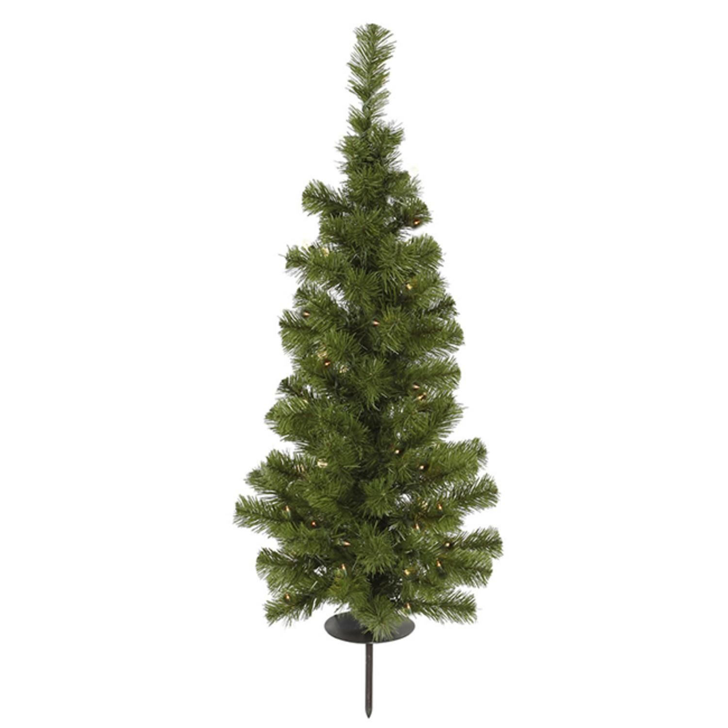 3 Pre Lit Solar Powered Artificial Stake Christmas Tree Clear Led Lights Walmart Com Solar Tree Pre Lit Christmas Tree Green Christmas Tree