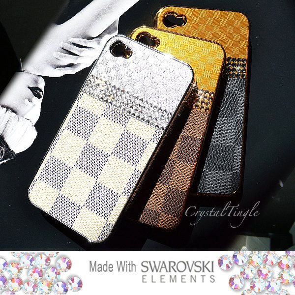 Luxury Classic Designer Inspired Hard Case Made with Swarovski Elements Crystals for iPhone 4 4S (White Brown or Black). $45.00, via Etsy.