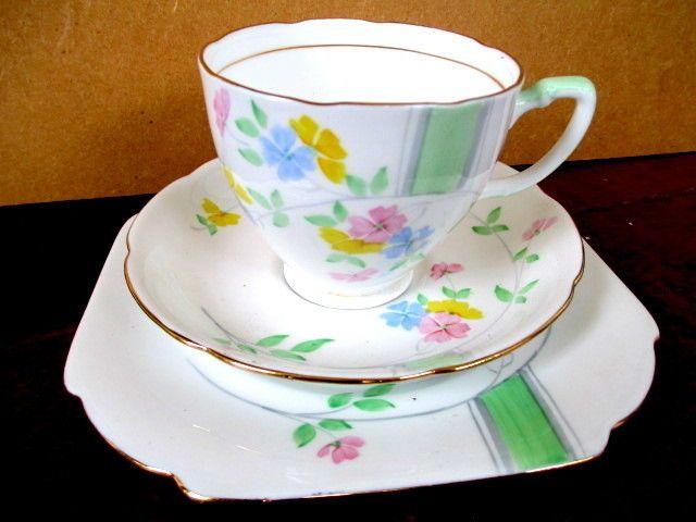 Art Deco / Vintage China Tea Set trio.Grafton China.487.Hand Painted.British