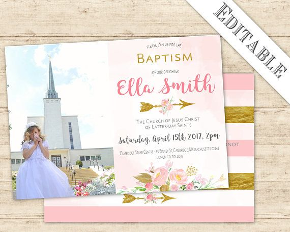 Editable Baptism Invitation Girl Digital Print PDF LDS Gold Blush