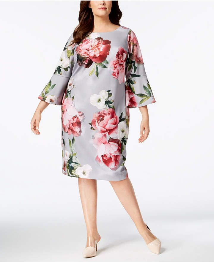 0ab67bfe Calvin Klein Plus Size Floral Bell-Sleeve Dress   Products   Bell ...