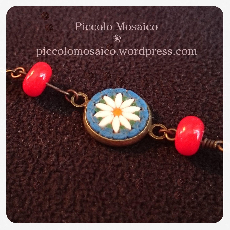 Micro mosaic bracelet - white daisy by PiccoloMosaico on Etsy