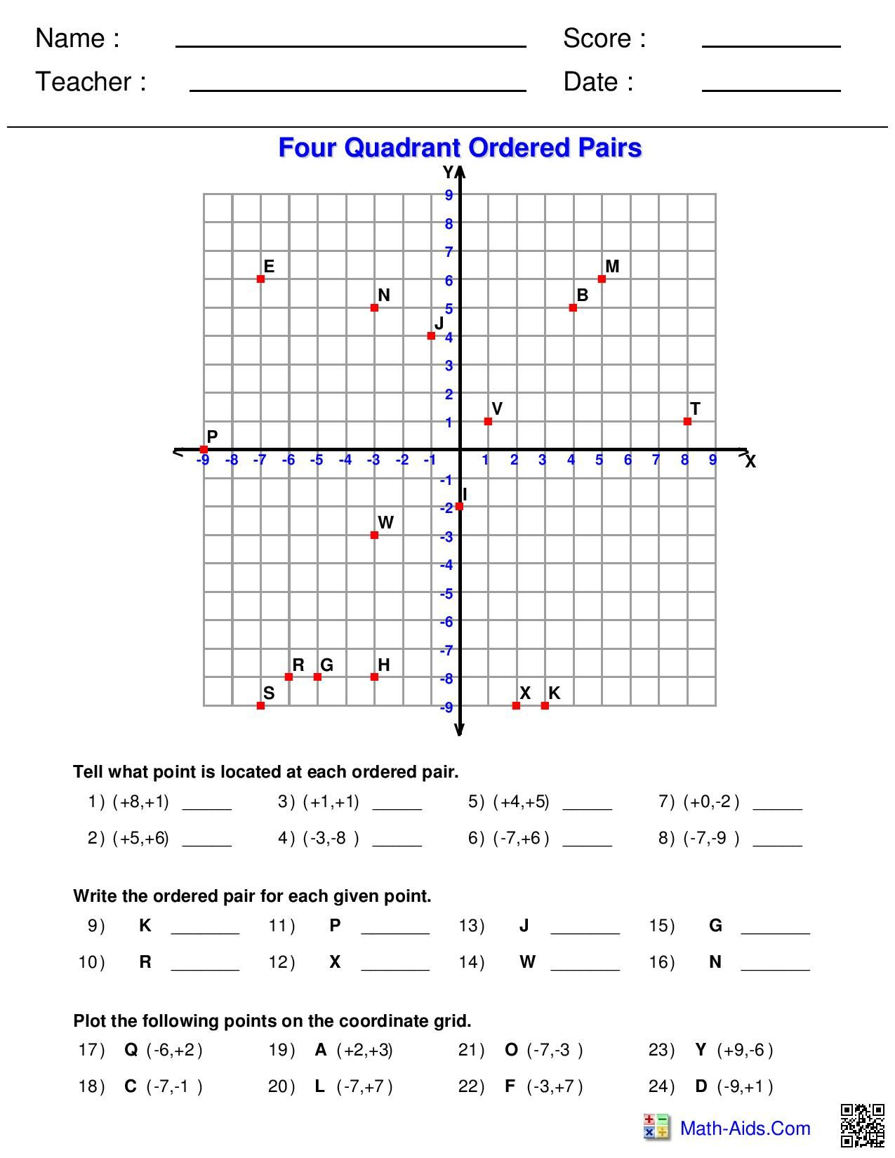 Four Quadrant Ordered Pairs Worksheet
