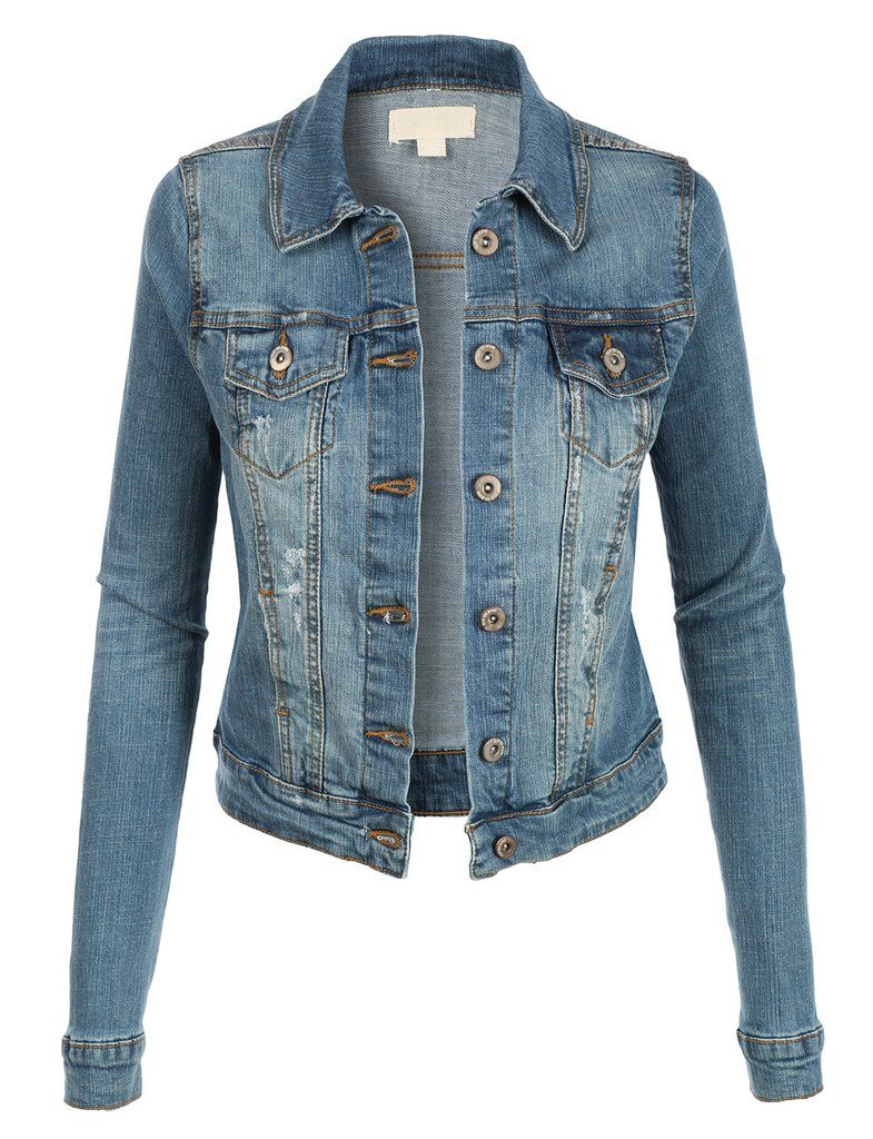 Womens Vintage Long Sleeve Denim Jean Jacket with Pockets | Denim ...