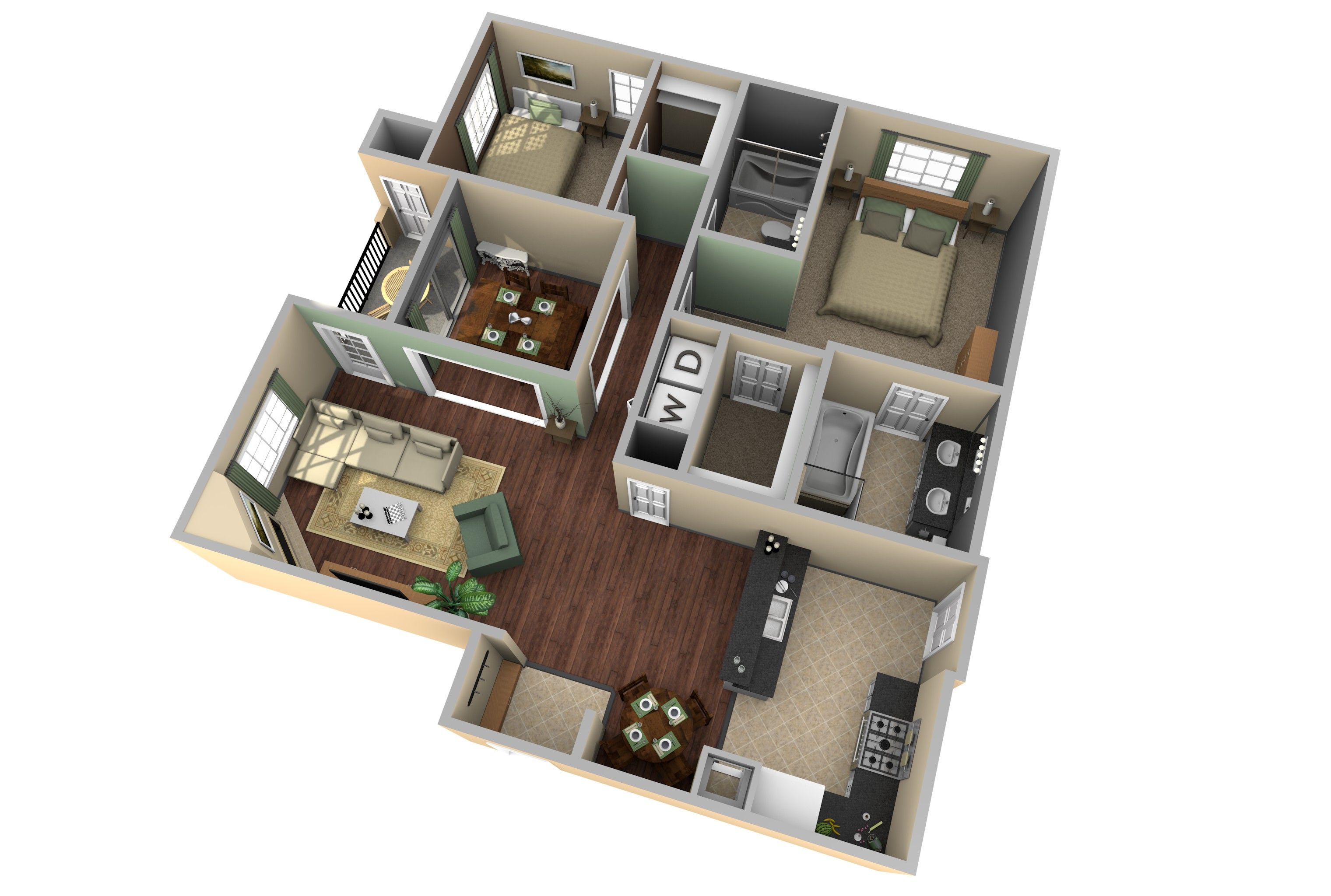 3d apartment floor plan design extraordinary 8 home design for Turn floor plan into 3d model